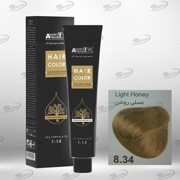 رنگ مو آوائی عسلی روشن شماره 8.34