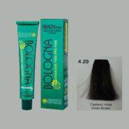 رنگ مو بدون آمونیاک بلونیا قهوه ای بادمجانی شماره 4.20
