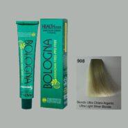 رنگ مو بدون آمونیاک بلونیا روشن کننده بلوند نقره ای شماره 908 سری روشن کننده